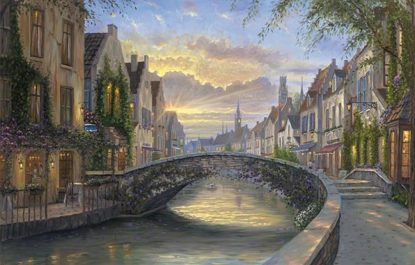 Картинка закат, цветы, мост, река, дома, вечер, Бельгия, живопись, Robert Finale, Reflection Of Belgium, водный канал