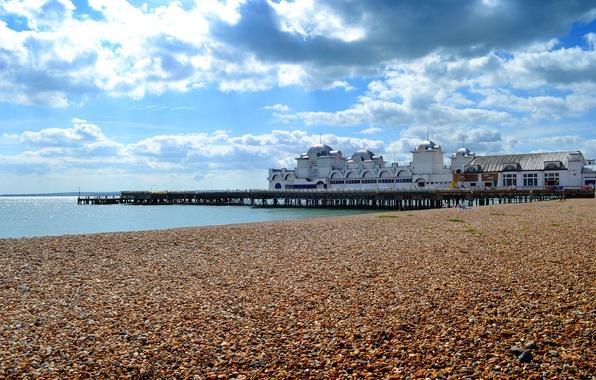 Картинка море, небо, облака, здание, Англия, пирс, купол, Саутси