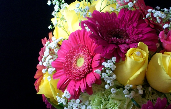 Картинка цветок, цветы, розы, букет, желтые, жемчуг, герберы, красивые, жёлтые, жемчужина