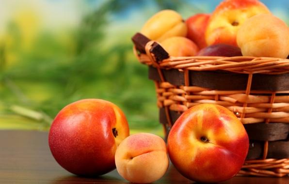 Картинка корзина, фрукты, персики, fruit, абрикосы, нектарин, peaches, apricots