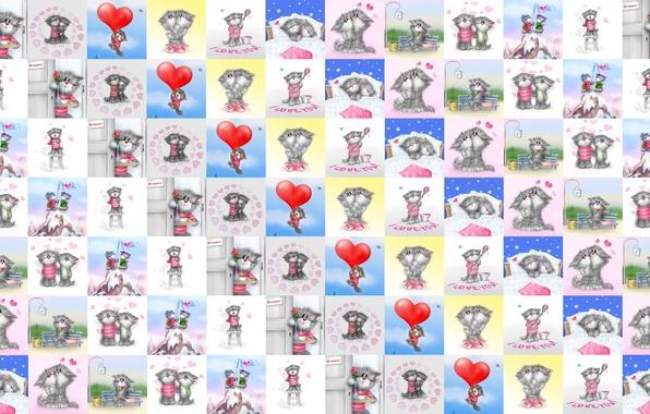 Картинка любовь, настроение, сердце, текстура, арт, валентинка, Алексей Долотов, сердечко, День Святого Валентина, котики, детская