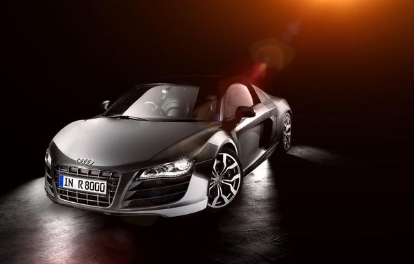 Картинка Audi, ауди, перед, серебристая, блик, front, silvery