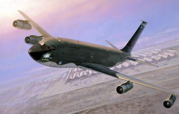 Картинка небо, земля, рисунок, арт, самолёт, аэродром, Боинг, самолёты, реактивный, заправщик, военно-транспортный, ангары, многофункциональный, KC-135, четырёхдвигательный, ...