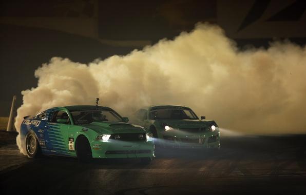 Картинка машины, дым, пыль, дрифт