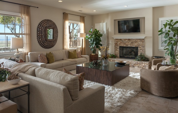 Картинка дизайн, стиль, диван, кресло, зеркало, камин, вазон, гостиная