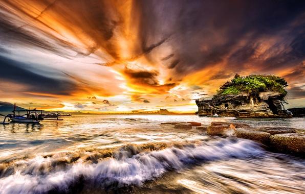 Картинка море, закат, лодка, остров