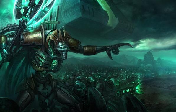 Картинка оружие, тьма, войны, Warhammer, Некроны, Necron, монолит, 40k, Лорд Некронов