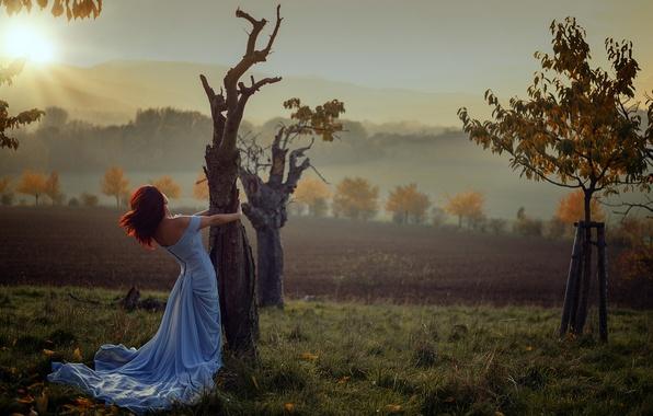 Картинка осень, девушка, солнце, деревья, восход, Miss Froggi, lovely colors