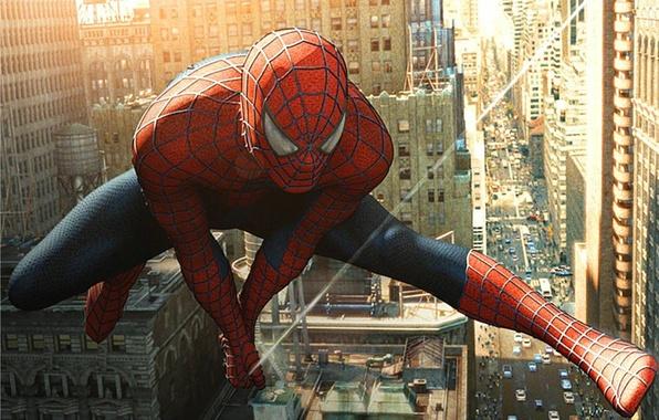 Фото обои прыжок, фильм, человек-паук, спайдермен, spider-man