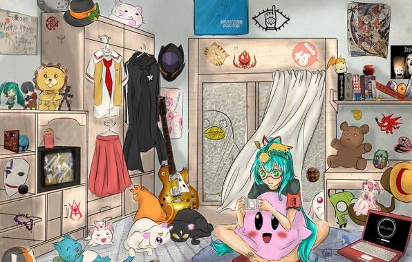 Картинка девушка, гитара, аниме, арт, ноутбук, vocaloid, hatsune miku, happy, death note, naruto, soul eater, bleach, …