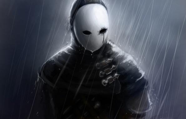 Картинка дождь, маска, арт, мужчина, Dark Souls