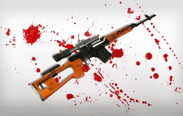Картинка фон, кровь, пятна, свд, винтовка, снайперская, снайперка, драгунов