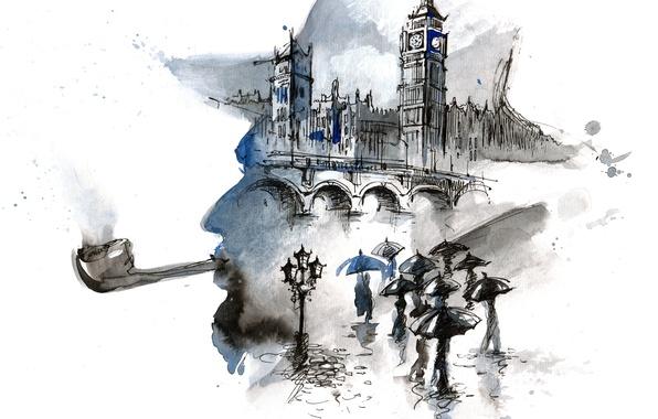 Картинка мост, люди, дождь, Лондон, зонтики, живопись, Биг бен