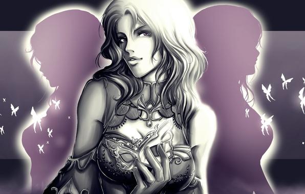 Картинка взгляд, девушка, бабочки, фон, арт, броня, белые волосы