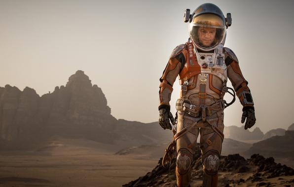Картинка фантастика, скафандр, костюм, астронавт, Мэтт Деймон, Марк Уотни, Марсианин, The Martian