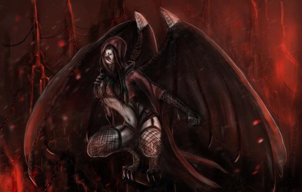 Картинка взгляд, высота, крылья, арт, когти, Mortal Kombat, вампирша, Nitara