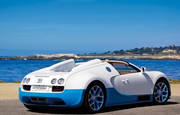 Картинка море, авто, машины, синий, природа, спорт, bugatti veyron, кар, бело, grand sport vitesse