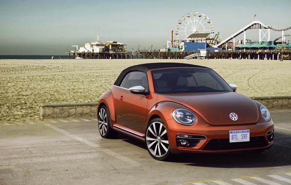 Картинка песок, Concept, пляж, жук, Volkswagen, день, концепт, кабриолет, фольксваген, Beetle, Cabriolet, 2015, Wave