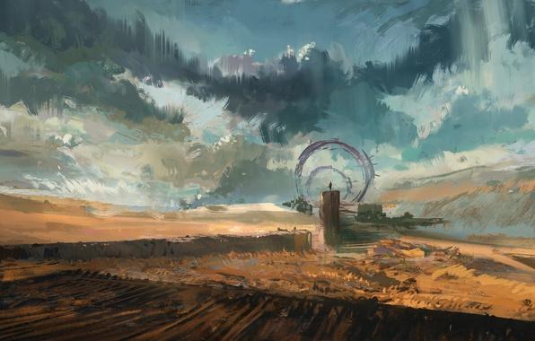 Картинка небо, облака, пейзаж, фантастика, пустыня, человек, ворота, арт, врата