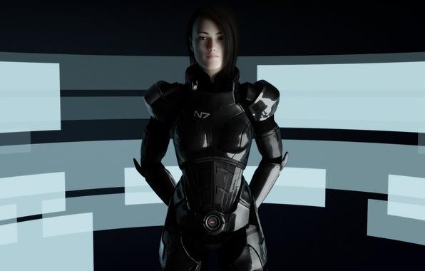 Картинка девушка, абстракция, броня, Mass Effect, Шепард, fan art, Shepard