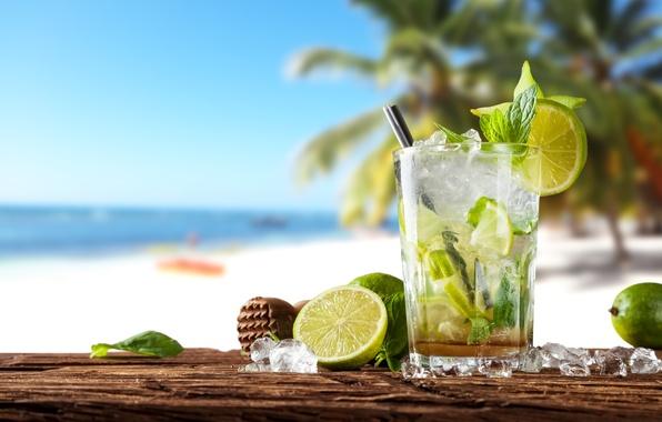 Фото обои paradise, vacation, мохито, mint, drink, mojito, cocktail, lime, sea, коктейль, beach, summer, tropical, fresh