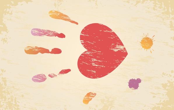 Картинка сердце, клякса, день влюбленных, ладонь, день святого валентина, отпечаток, valentines day