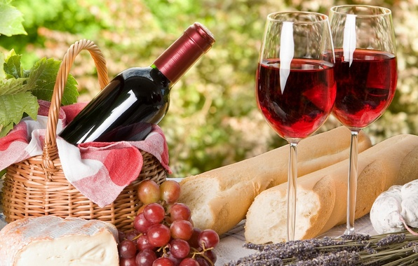 Картинка вино, сыр, бокалы, хлеб, виноград, пикник, франция