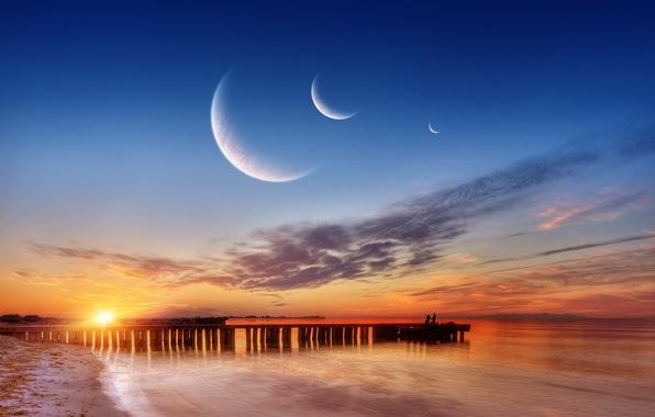 Картинка море, планеты, пирс