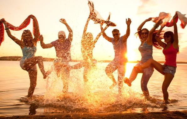 Картинка пляж, настроение, вечеринка, танцы, веселье, молодежь