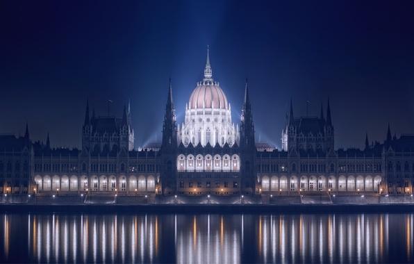 Картинка ночь, огни, отражение, река, здание, подсветка, набережная, парламент, Венгрия, Будапешт, Дунай
