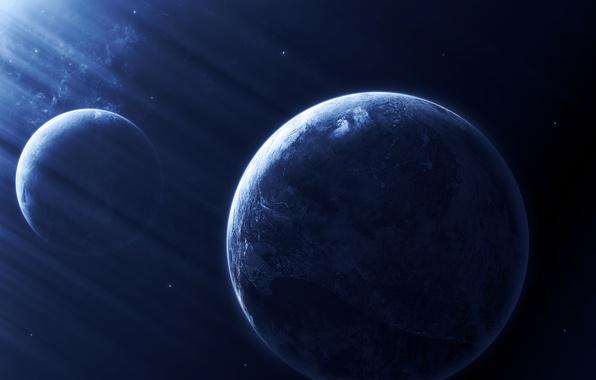 Картинка dark, blue, planets, Sci FI, light effect