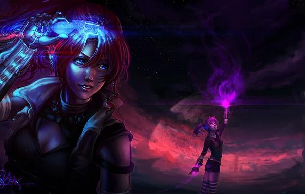 Картинка энергия, космос, звезды, фантастика, девушки, планета, арт