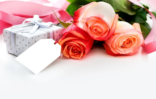 Картинка цветы, праздник, коробка, подарок, розы, букет, лента, box, flowers, gift, holiday, bouquet, roses, ribbon