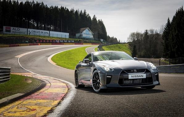Картинка car, авто, трасса, серебристый, Nissan, GT-R, вид спереди, ниссан, track