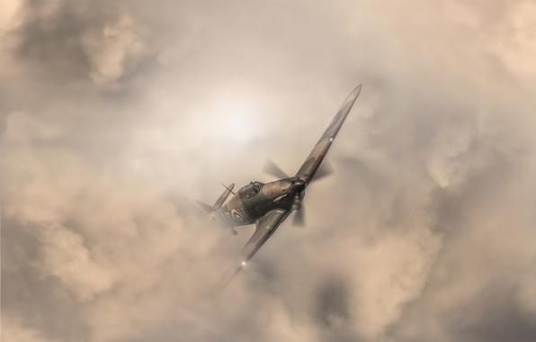 Картинка небо, тучи, самолет, ураган