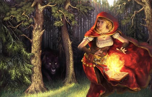 Картинка лес, девушка, деревья, огонь, магия, шар, волк, хищник, красная шапочка, арт, книга, плащ, скалится