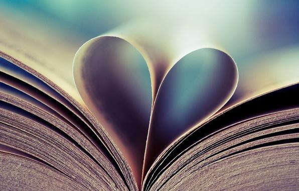 Картинка фон, настроение, обои, сердце, картинки, книга, страницы