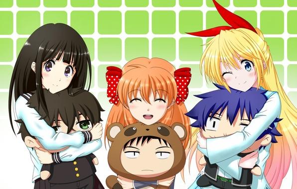 Картинка девушки, игрушки, парни, anime, art, Hyouka, Houtarou Oreki, Eru Chitanda, Nisekoi, Gekkan Shoujo Nozaki-kun, Raku …