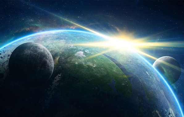 Картинка солнце, космос, земля, звезда, планета, спутники