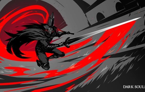 Картинка меч, шляпа, воин, art, Dark Souls 3, Abyss Watchers