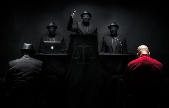Фото обои мужчины, суд, приговор, слепое правосудие