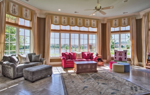 Картинка дизайн, комната, диван, ковер, интерьер, подушки, окно, зал, гостиная