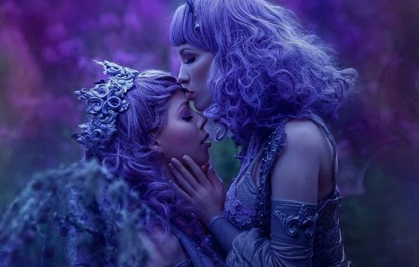 Картинка фантазия, девушки, поцелуй, арт, Ophelia Overdose, Agnieszka Lorek, Lavender Love, sisters of night