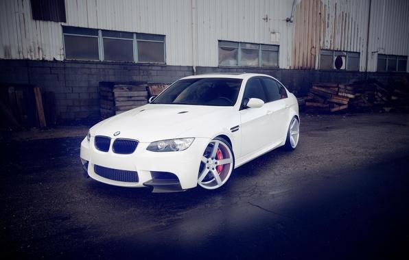 Картинка BMW, white, sedan, vossen, E90