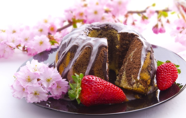 Картинка ветки, ягоды, шоколад, клубника, тарелка, цветение, выпечка, глазурь, кекс
