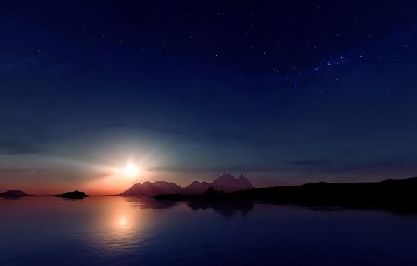 Картинка звезды, закат, горы, отражение, Солнце, Луна, moon, sunset, mountain, stars, sun, reflection