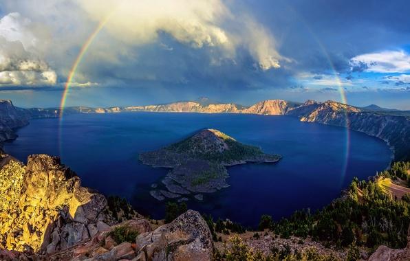 Картинка озеро, радуга, Орегон, США, штат, Крейтер