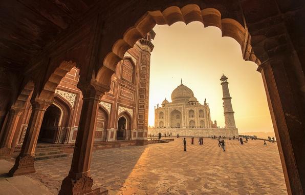 Картинка Индия, Тадж-Махал, мечеть, мавзолей, Агра, Taj Mahal, Agra, India