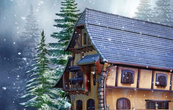 Картинка зима, снег, дом, фото, забор, ель, 3D графика