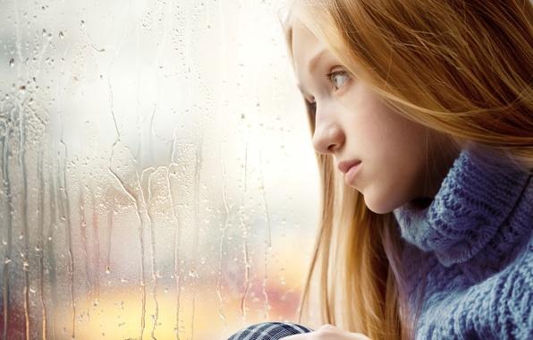 Картинка грусть, девушка, дождь, окно